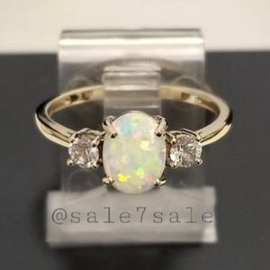 ♥️ Real 10K Gold Lab Opal Ring Solid 10KT Gold